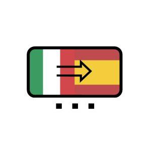 Bandera de Italia con flecha hacia bandera de España