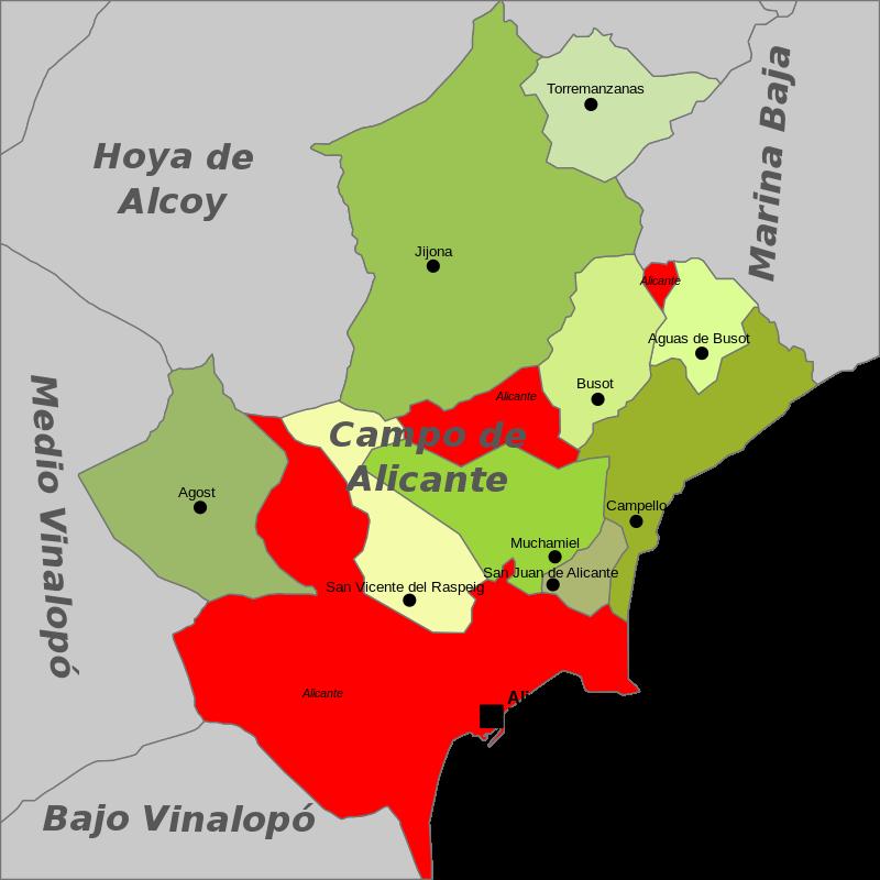 Mapa del término municipal de Alicante